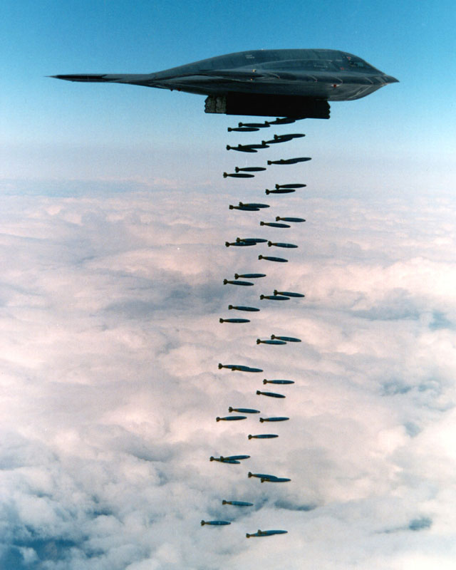 B-2A releasing eighty Mk.82 500 lb bombs